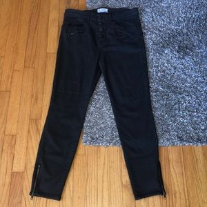 Free People black high waist button fly jean 31